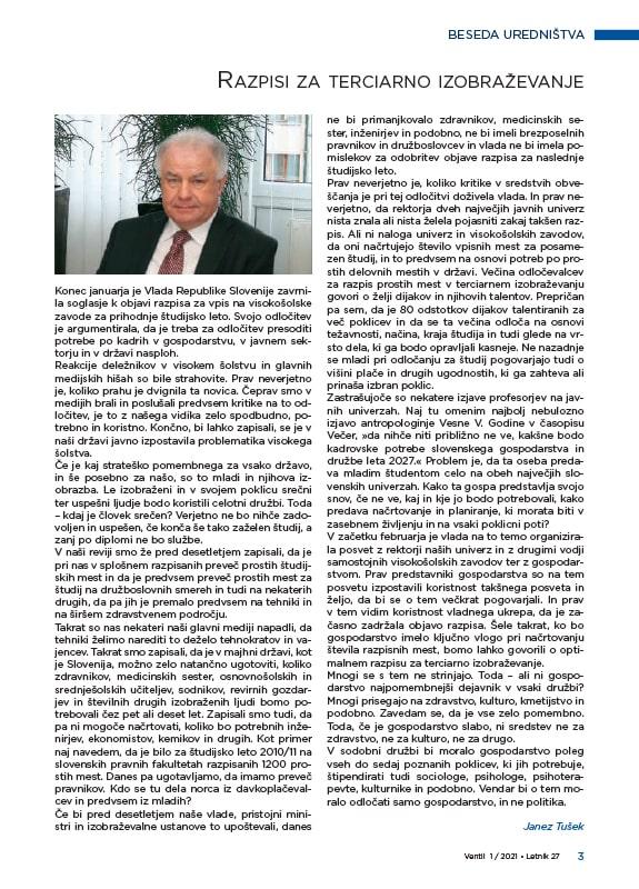 Revija Ventil - Letnik 27 / 2021 / 1 / Februar - uvodnik
