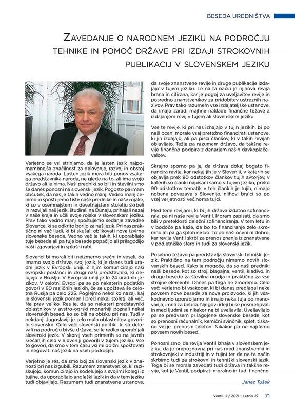 Revija Ventil - Letnik 27 / 2021 / 2 / April