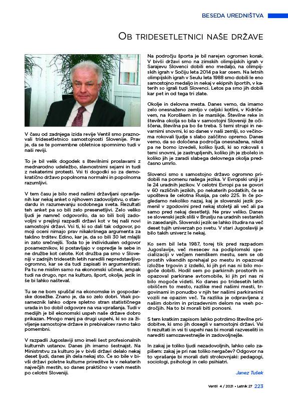 Revija Ventil - Letnik 27 / 2021 / 4 / Avgust